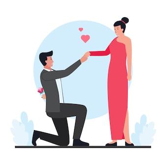 남자는 발렌타인 데이에 여자에게 꽃을 준다.