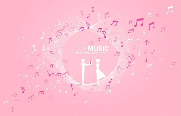 남자는 음악 노트 비행 여자 친구에게 선물 상자를 제공합니다. 노래와 사랑 음악 콘서트 테마에 대 한 개념 배경.