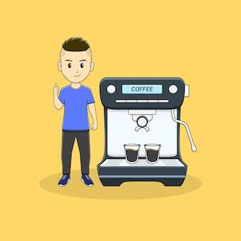 男は親指とコーヒーマシンを与える