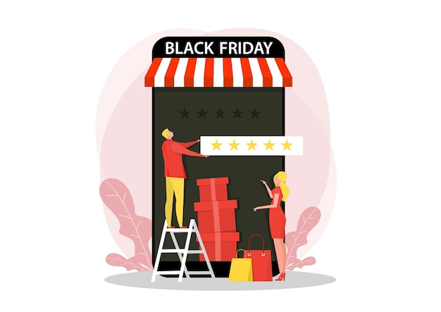 Man giving 5 stars, feedback and rating on black friday. flat  illustration for web