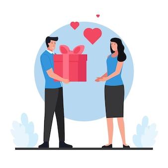 발렌타인 데이에 여자에게 선물 상자를주는 남자.