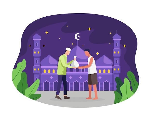 Мужчина дает милостыню или закят в священный месяц рамадан. мусульманин делает пожертвование бедному бездомному
