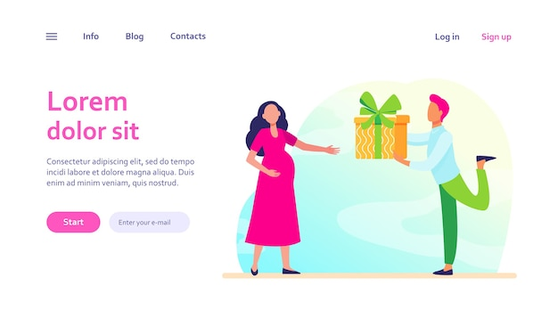 妊娠中の妻に贈り物をする男。期待するカップル、両親、赤ちゃんへのプレゼント。家族、妊娠、ウェブサイトのデザインやウェブページのランディングのための愛の概念