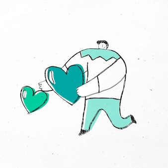 緑の心の漫画を与える男