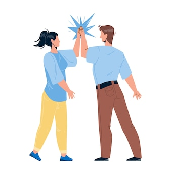 Man giving high five young woman friend vector. friendly people giving high five together, greeting or celebrating success. characters congratulating, funny time flat cartoon illustration