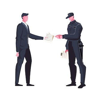 Man giving papers to guard in uniform with baton flat
