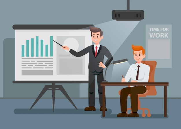 Man giving presentation flat cartoon illustration