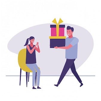 Man giving presents to woman
