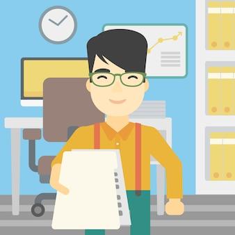 Man giving resume vector illustration.
