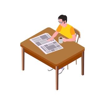 Uomo con gli occhiali che beve caffè e legge il giornale a tavola isometrica