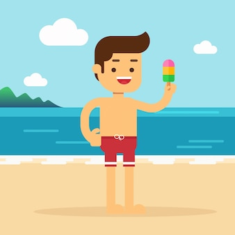 Man go to travel in summer holiday, man is on vacation eating ice cream on the beach