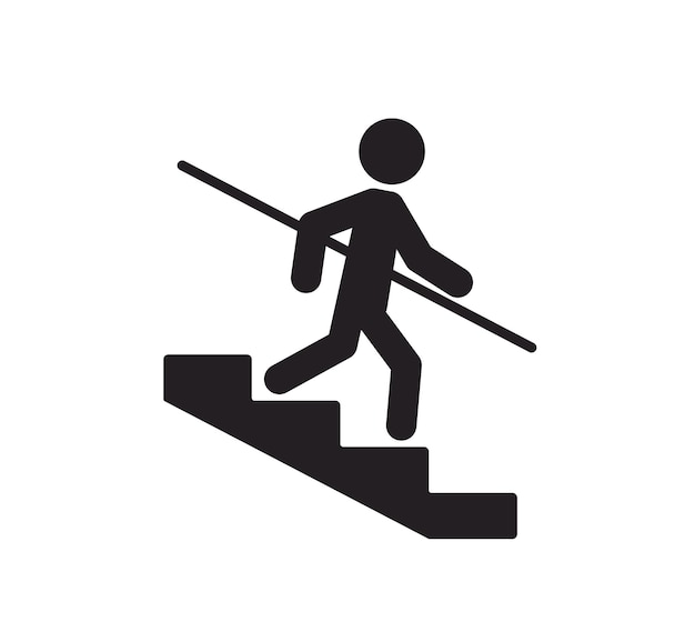 A man goes down the stairs and holds on to the handrail caution stairway use handrails symbol icon