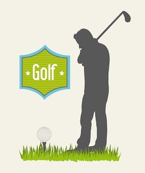 Man golfer over beige background golf vector illustration