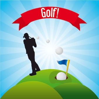 Man golfer over landscape background golf vector illustration