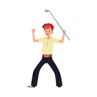 A man golfer rejoices in victory and raised his hands with a stick or club.   cartoon  golfer or golf player illustration.