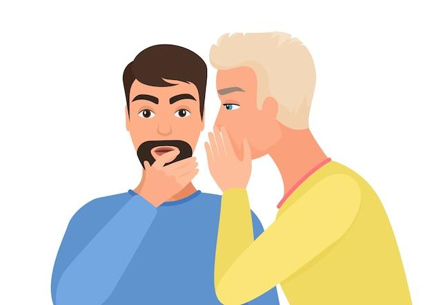 Мужчина сплетничает, рассказывает слухи другому персонажу. сплетник плоский.