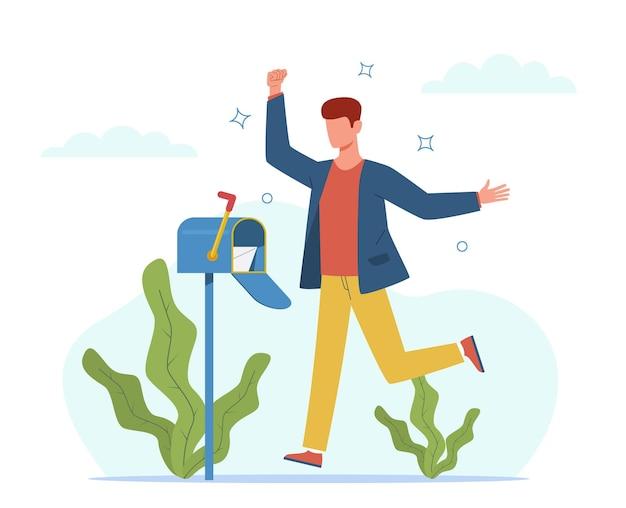 남자가 편지를 받았습니다. 우편함 근처에 있는 행복한 사람, 중요한 편지 봉투, 서신 및 메시지를 보내는 빠른 배달 우편 서비스 만화 벡터 플랫 만화 개념을 가진 사업가