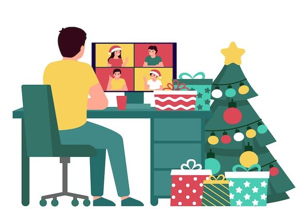 Мужчина приветствует людей онлайн на рождество и новый год, вид сзади видеозвонок, виртуальная встреча