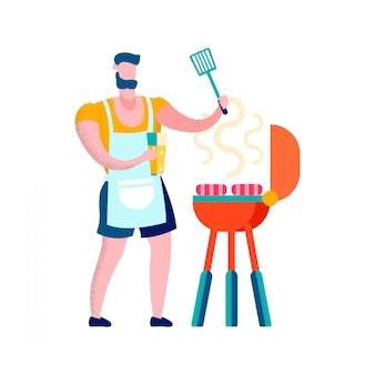 Man grilling sausages flat vector illustration