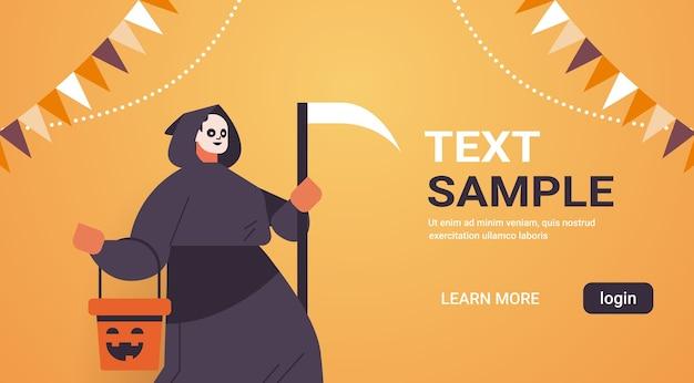 Man in grim reaper costume happy halloween holiday celebration concept portrait banner horizontal copy space vector illustration