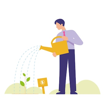 Man growing plant as a good growth of investment
