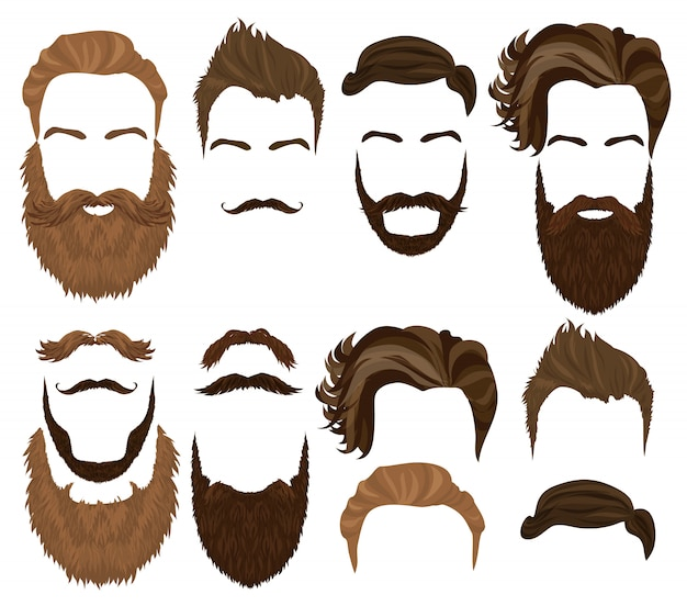 Man hair, mustache and beard set