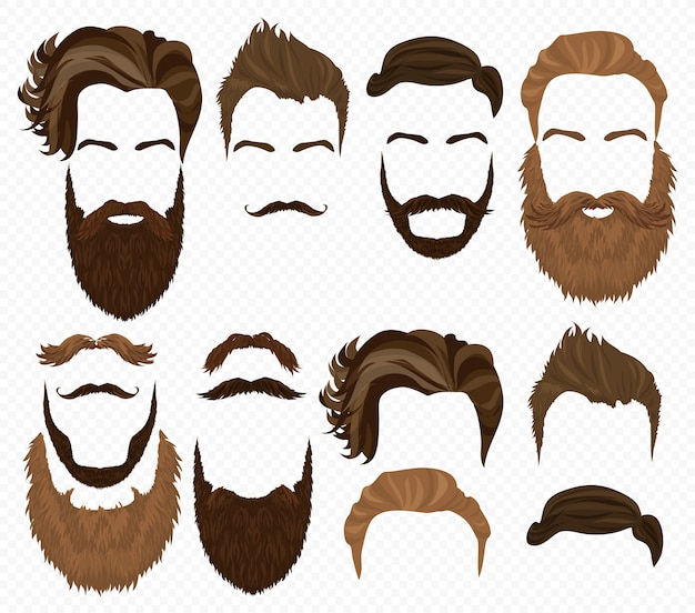 Man hair, mustache beards set