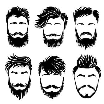 男の髪型。さまざまなスタイリッシュなバリエーションのベクトルセットをグルーミングする剃毛ヘアカットと理髪店。イラスト髪の口ひげ、ヘアカットヒップスターのシルエット