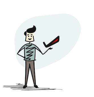 Man hand hold right sign tag, cartoon hand drawn sketch vector illustration.