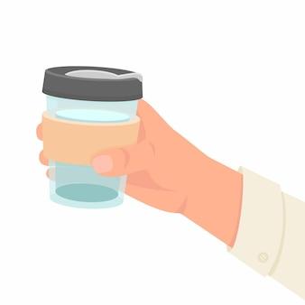 재사용 가능한 열 머그를 들고 있는 남자 손. 세계 환경의 날과 지구의 날 개념입니다. 남자 손에 물과 함께 열 컵입니다. 제로 폐기물 평면 그림입니다. 마시는 열 머그잔을 들고 남자 손입니다.