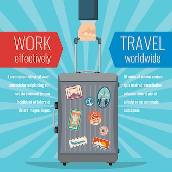 Man hand holding travel bag luggage with landmarks stickers. traveling vector concept