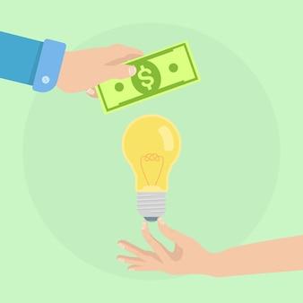 男の手はお金と電球を持っています。アイデアを購入し、イノベーション、最新のビジネステクノロジーに投資する