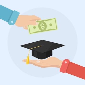 Man hand holds money and graduation academic hat