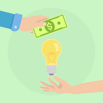Man hand holds money and light bulb. buy idea, investing in innovation, modern business technology