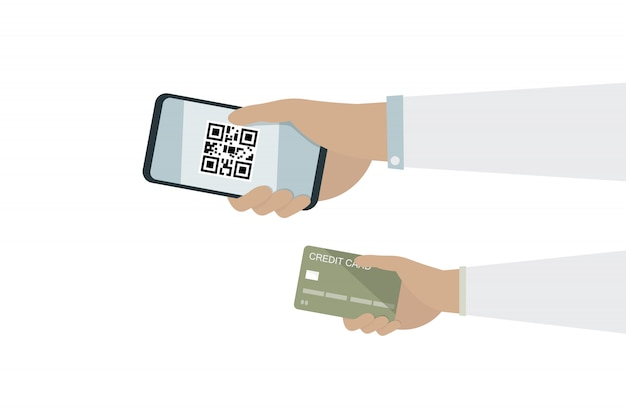 Man hand on mobile phone with qr code and hand on credit card for pay money