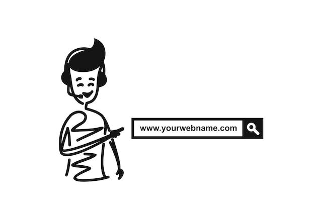 검색 표시줄, 만화 손으로 그린 스케치 벡터 일러스트 레이 션에 대 한 남자 손 가리키는 손가락.