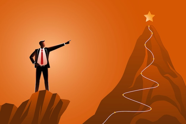 Man hand on waist standing on cliffs while pointing to a golden star
