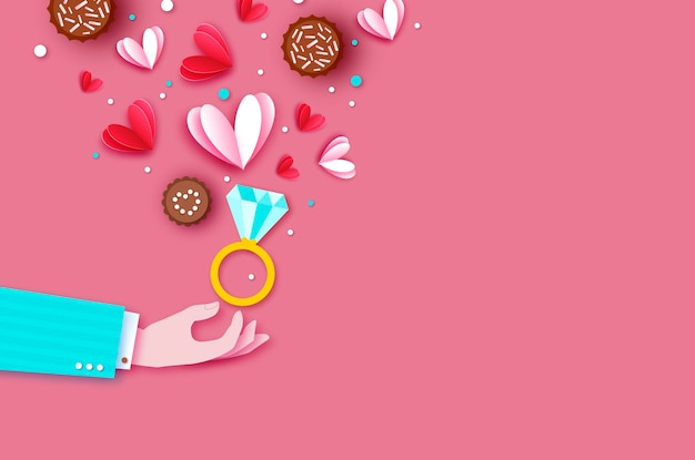 사랑 마사지로 사랑의 마음으로 남자 손. 사랑 초콜릿. 당신의 사랑을 나누십시오. 종이 컷 스타일. 발렌타인 데이. 2 월 14 일.