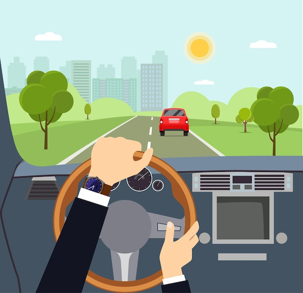 Man hands of a driver on steering wheel of a car vector flat style cartoon  illustration