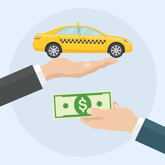 Man hands hold yellow taxi cab and money. payment for taxi in cash