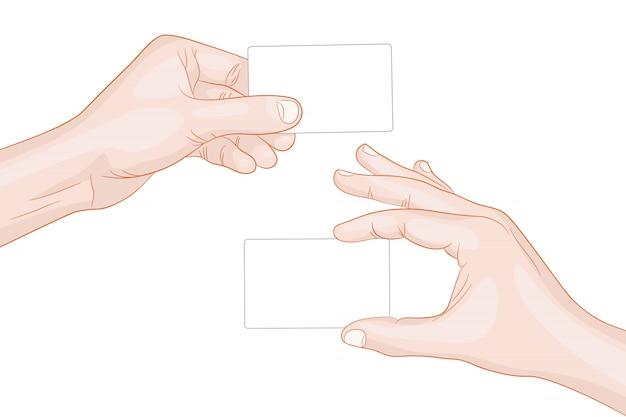 Man hands holding a blank cards