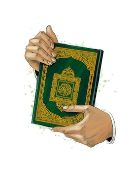 Man hands holds holy book of koran from splash of watercolors. muslim holiday, eid mubarak, ramadan kareem. hand drawn sketch.  illustration of paints