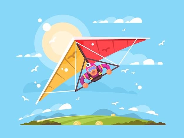 Man on a hang glider