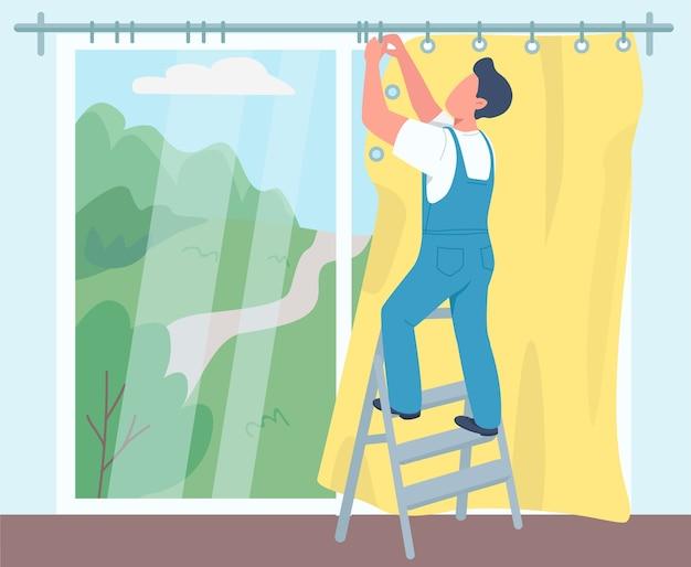 Человек висит шторы плоский цвет. мужской домработница, разнорабочий 2d мультипликационный персонаж с двором на фоне. профессиональная уборка. работа по дому, украшение комнаты