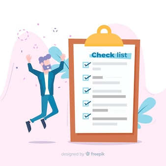 Man happy checking giant check list background