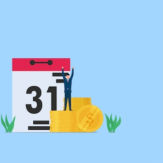 Man happy on end of the month for salary payment. business flat concept illustration.