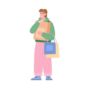 セール中の買い物に満足している男