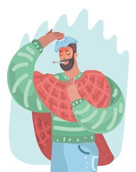 Мужчина простужен или болеет гриппом.