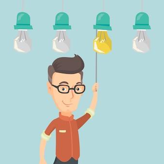 Man having business idea illustration.