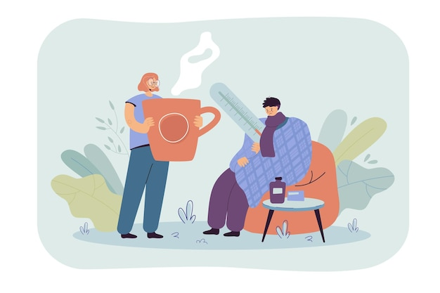 Man having cold and flu, wrapping himself in plaid, measuring body temperature. cartoon illustration